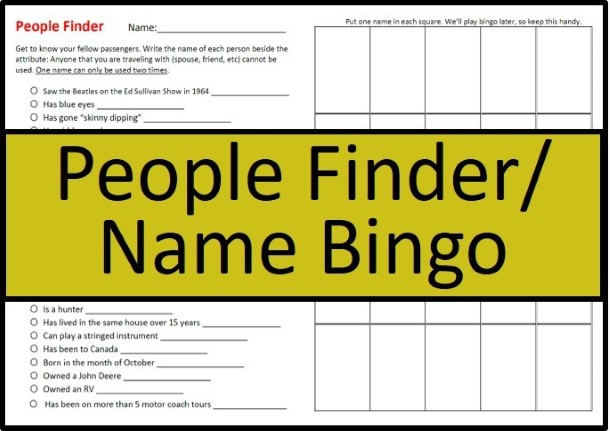 Name Bingo/People Finder | Resources for the Road